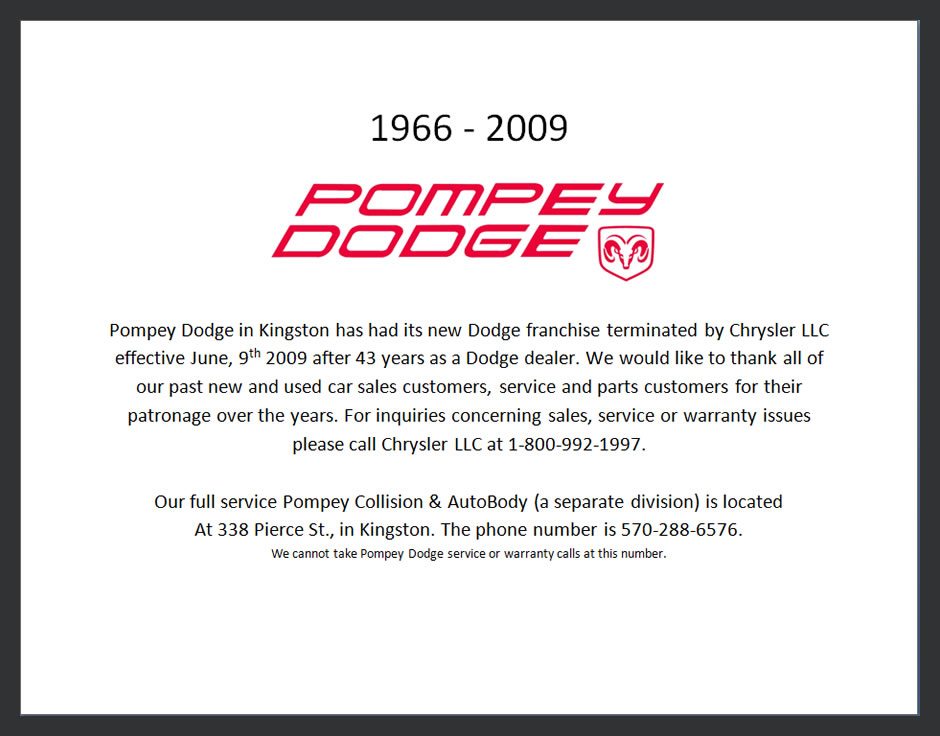 Pa Auto Sales >> POMPEY DODGE New and Used Auto Sales in Kingston, PA